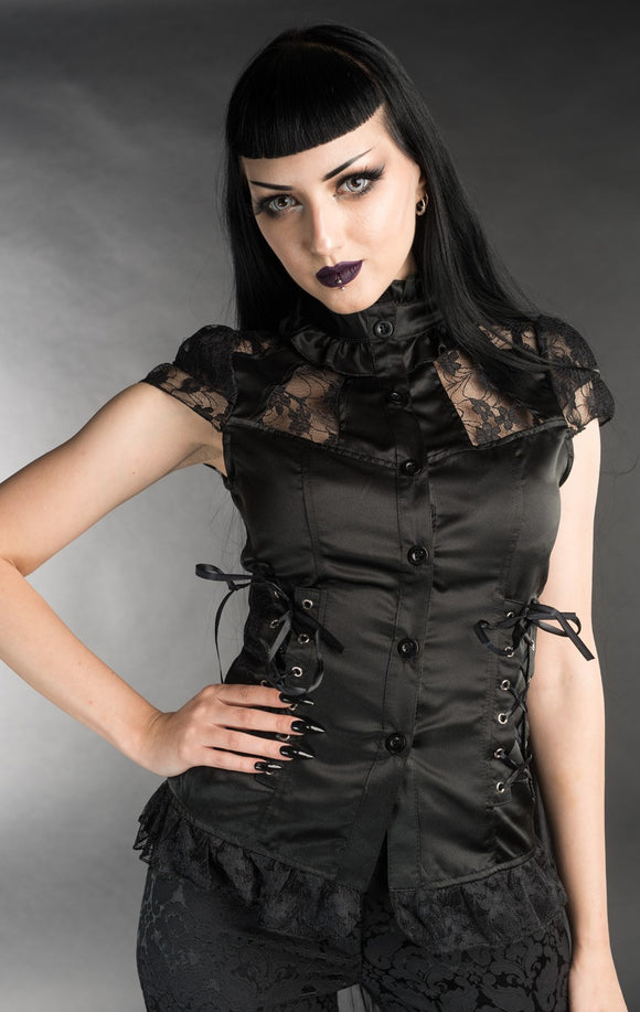 Dracula Clothing - Gothic Black Laced Steampunk Blouse
