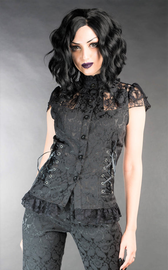Dracula Clothing - Gothic Brocade Laced Steampunk Blouse