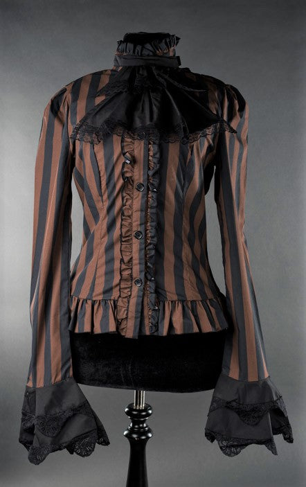 Dracula Clothing - Gothic Steampunk Striped Cravat Blouse