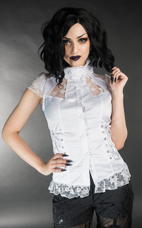 Dracula Clothing - Gothic White Laced Steampunk Blouse