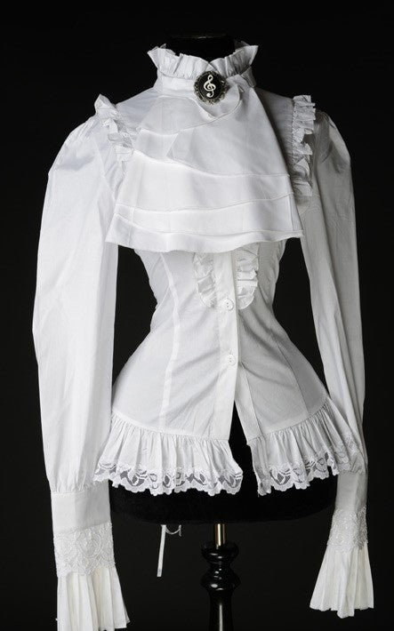Dracula Clothing - Gothic White Ruffle Steampunk Blouse