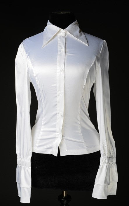 Dracula Clothing - Gothic White Satin Elegant Cravat Steampunk Blouse