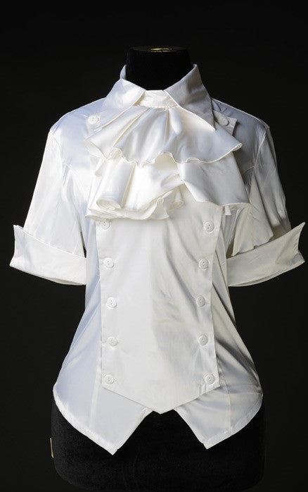 Dracula Clothing - Gothic White Satin Panel Cravat Steampunk Blouse