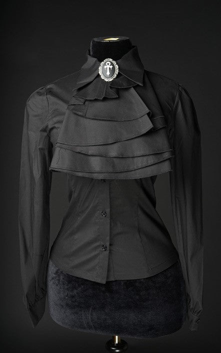 Dracula Clothing - Gothic Black Cotton Marquess Steampunk Blouse