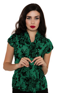 Voodoo Vixen - Heidi Green Flocked Floral Top - Egg n Chips London