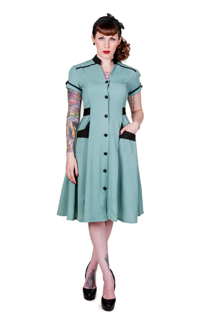 Banned Apparel - Green Old Vintage Dress - Egg n Chips London