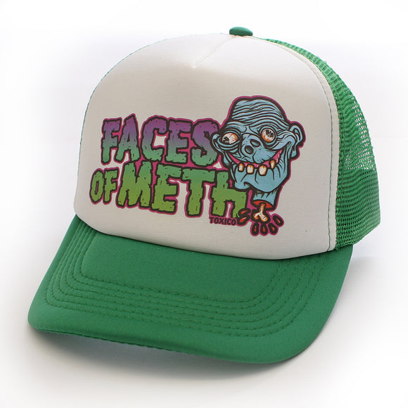 Toxico Clothing - Unisex Green-White Faces Of Meth 1 Trucker Hat - Egg n Chips London