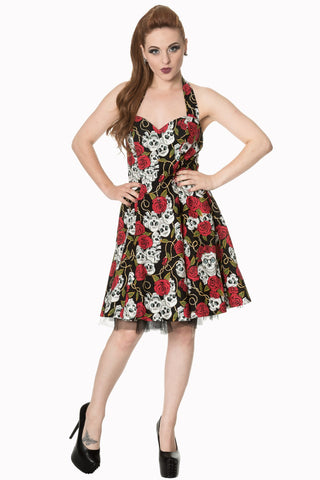 Banned Clothing - Skull And Roses Halter Dress