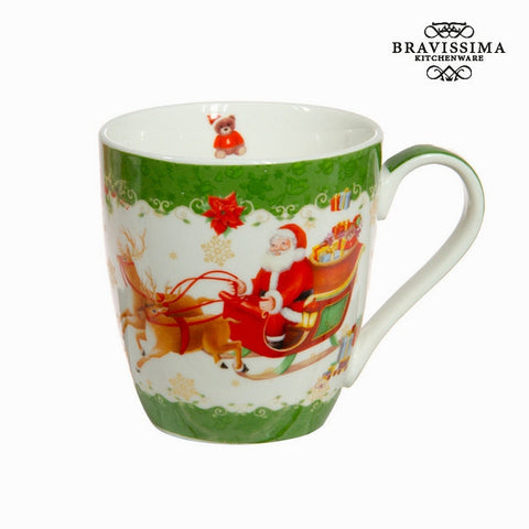 Bravissima Kitchen - Green Porcelain Christmas Santa Mug
