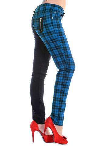 Banned Apparel - Half Black Half Check Skinny Jeans
