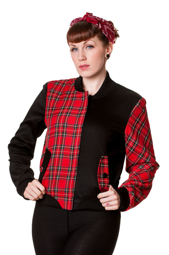 Banned Apparel - Half Black Half Red Tartan Jacket - Egg n Chips London