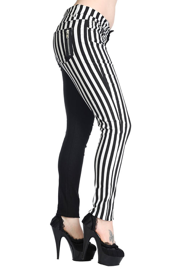 Banned Apparal - Half Black Half Striped Trousers - Egg n Chips London