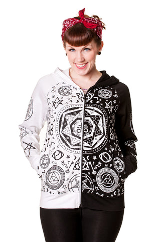 Banned Clothing - Black White Pentagram Hoodie