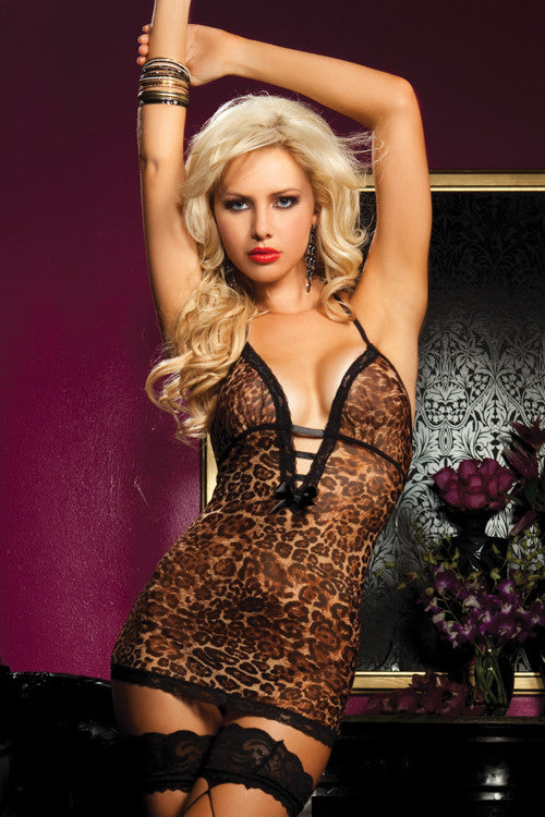 Seven 'til Midnight - Hear Me Roar Leopard Print Mesh Chemise - Egg n Chips London