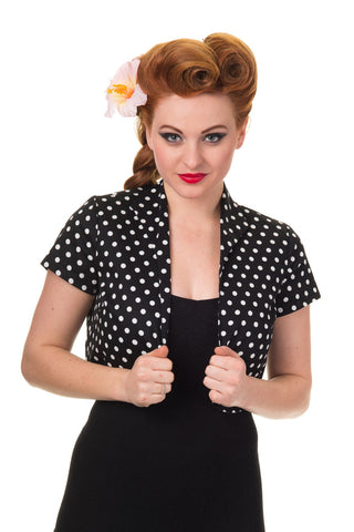 Banned Apparel - Higher Love White Spotted Bolero