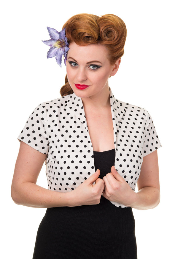 Banned Apparel - Higher Love Black Spotted Bolero - Egg n Chips London