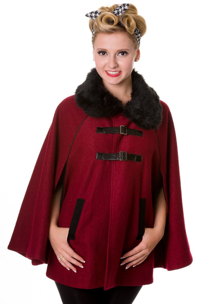 Banned Apparel - Faux Fur Collar Red Retro Cape - Egg n Chips London