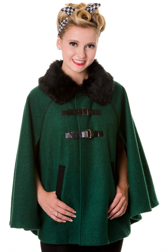 Banned Apparel - Faux Fur Collar Retro Green Cape - Egg n Chips London
