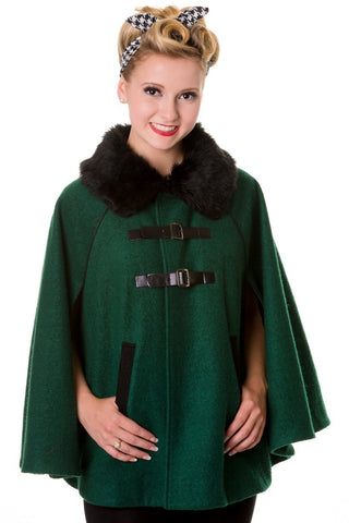 Banned Apparel - Faux Fur Collar Retro Green Cape