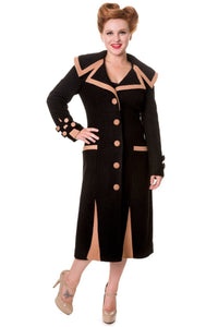 Banned Apparel - Claudette Colbert Vintage Inspired Black Coat - Egg n Chips London
