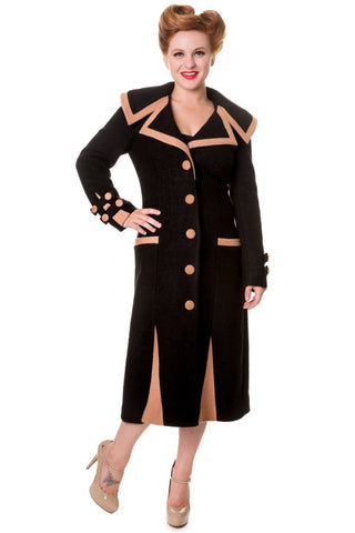 Banned Apparel - Claudette Colbert Vintage Inspired Black Coat