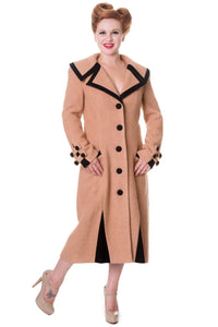 Banned Apparel - Claudette Colbert Vintage Inspired Camel Coat - Egg n Chips London