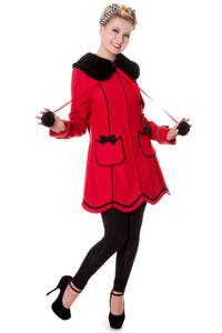Banned Apparel - Big Bows Faux Fur Collar Red Coat - Egg n Chips London