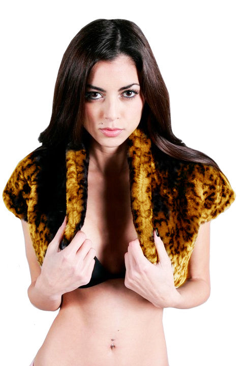 Iron Fist Clothing - Leopard Faux Fur Love Cats Shrug - Egg n Chips London