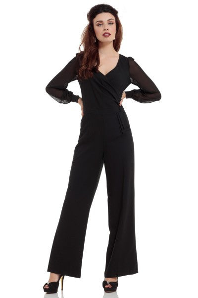 Voodoo Vixen - Rosemary  Black Jumpsuit - Egg n Chips London