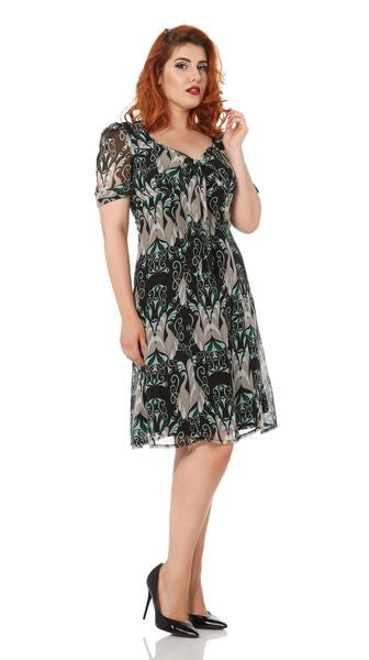 Voodoo Vixen - Justine Paisley Fitted Retro Tea Dress - Egg n Chips London