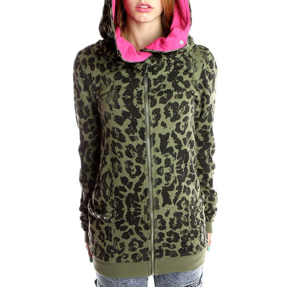 Abbey Dawn - Knock Out Green Leopard Print Hoodie - Egg n Chips London