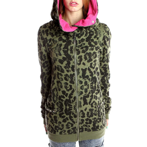 Abbey Dawn - Knock Out Green Leopard Print Hoodie
