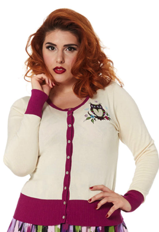Voodoo Vixen - Kylie Cream Owl Cardigan - Egg n Chips London