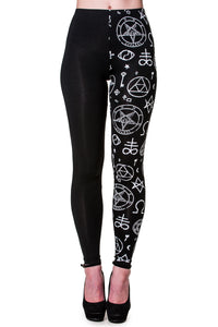 Banned Clothing - Half Pentagram Half Black Leggings - Egg n Chips London