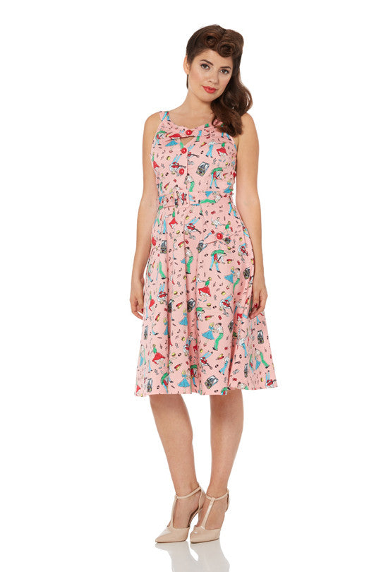 Voodoo Vixen - Leona 50s Bop Print Flare Dress - Egg n Chips London