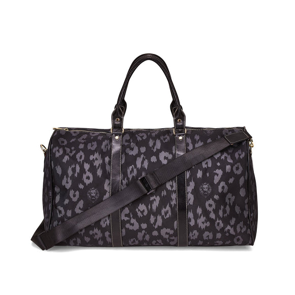 Leopard Print Black Large Travel Bag