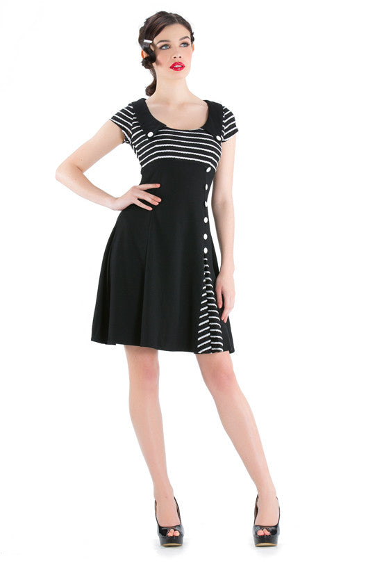 Voodoo Vixen - Lindy Striped Knitted Flare Dress - Egg n Chips London
