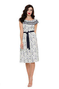 Voodoo Vixen - Magdalena Seaside Nautical Print Dress - Egg n Chips London