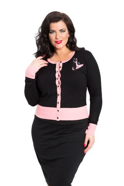 Voodoo Vixen - Meow For Now Plus Size Kittycat Cardigan - Egg n Chips London