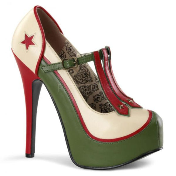 Bordello Shoes - Military Themed T-Strap Pump Platforms - Egg n Chips London
