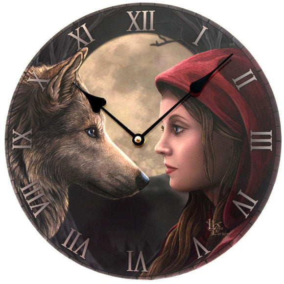 Moon Struck Wolf Attack Red Riding Hood Clock - Egg n Chips London