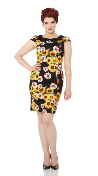 Voodoo Vixen - Nahla Black Sunflowers Pencil Dress - Egg n Chips London