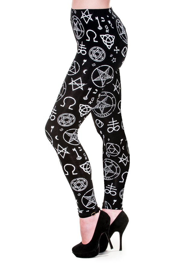 Banned Clothing - Occult Symbols Illuminati Leggings - Egg n Chips London