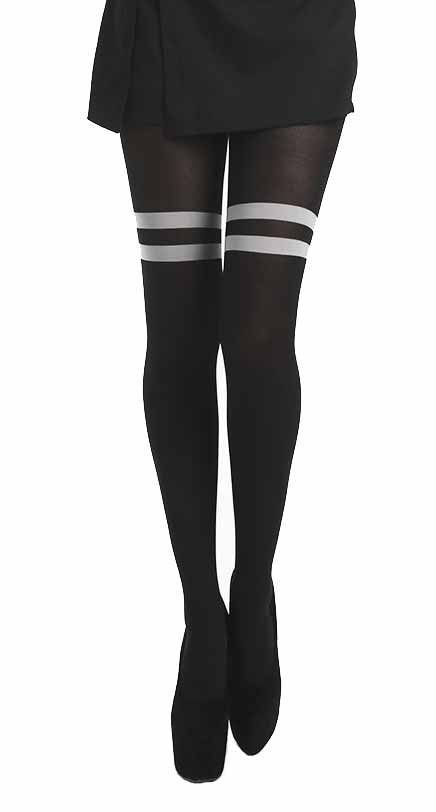 Pamela Mann - Opaque Stripe OTK Tights - Egg n Chips London