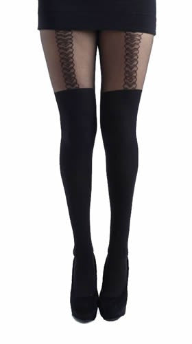 Pamela Mann - Outline Heart Suspender Tights - Egg n Chips London