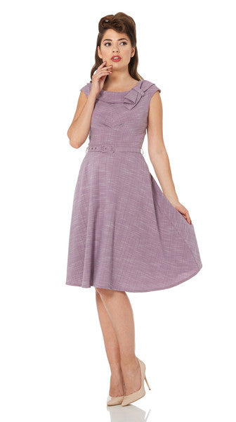 Voodoo Vixen - Paige Purple Belted Classic Skater Dress - Egg n Chips London
