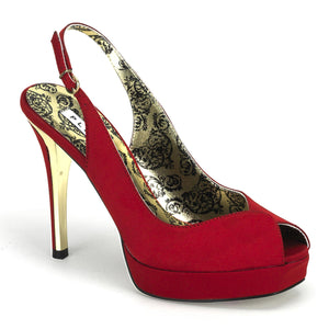 Bordello - Peony03 Red Satin Slingback Platform Sandal - Egg n Chips London