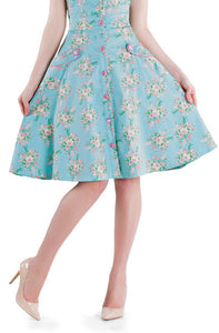 Voodoo Vixen - Floral Peppermint Flared Skirt - Egg n Chips London