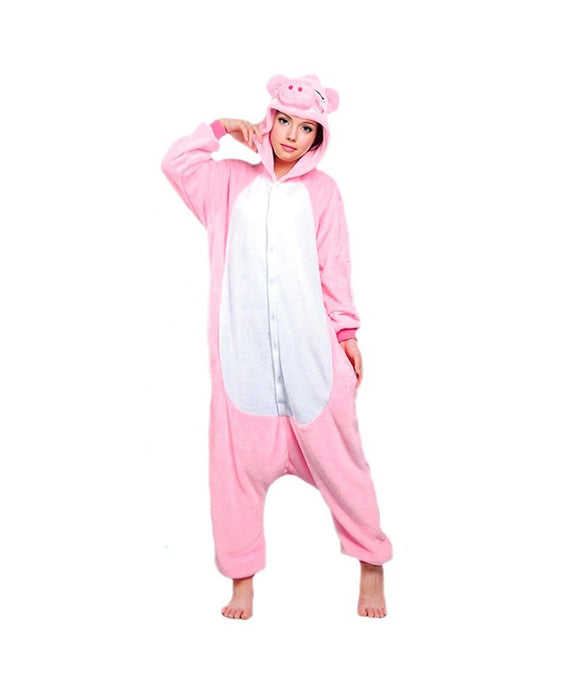 Mengshufen - Pig Animal Style Flannel Jumpsuit Pyjamas - Egg n Chips London