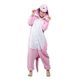 Mengshufen - Pink Dinosaur Animal Style Flannel Jumpsuit Pyjamas - Egg n Chips London